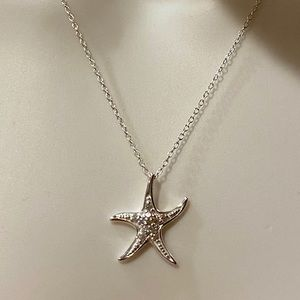 .925 Stamped Sterling Silver Starfish Necklace